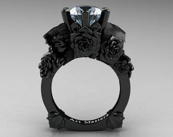 Love and Sorrow 5K Black Gold 3.0 Ct Aquamarine Skull and Rose Solitaire Engagement Ring R713-5KBGAQ