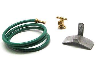 Dollhouse Garden Hose Set, Miniature, Faucet, Hose Hanger, Mini, Metal,