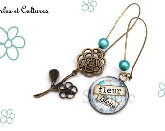 Blue flower cabochon Flower Earrings
