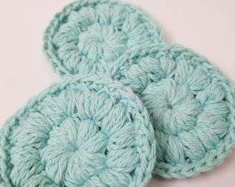 3 Reusable Puff Stitch Crochet Face Scrubbie (Cotton and Polyester blend, pastel blue)