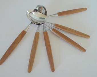 FREE SHIPPING Teak Spoons Skaugum Norway Stainless Steel - Set of six Vintage Midcentury Modern Flatware In original box