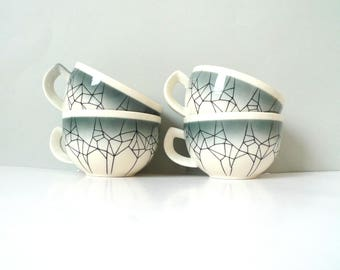 East German Cups - Four DDR mugs Spider Grey Black and White Ceramics GDR Nostalgia