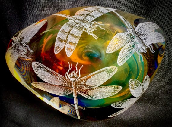 Hand Engraved Paperweight Dragonflies , Office Decor, Home Decor, Etched Dragonfly, dragonfly crystal Paperweight, engraved glass, crystal