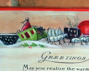 Christmas Sign/Decor - Hand Painted, Wonderful Message, Horse Drawn Carriage - Vintage - Fabulous!