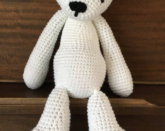 Teddy bear plush, teddy bear softie, amigurumi, baby toy, baby shower gift, crochet teddy bear, bear plush