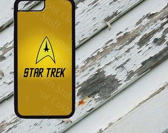 Star Trek Starfleet Insignia Yellow Vertical Design on iPhone  5 / 5s / 5c / 6 / 6 Plus/7 / 7 Plus Rubber Silicone Case