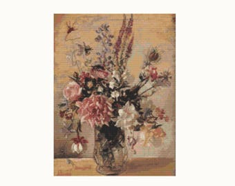 Cross Stitch Pattern PDF - A Garden Bunch - George Lambert - Floral Cross Stitch - Flowers Cross Stitch - Instant Download (LAMBE01)
