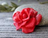 Matte Rose Bead, Lampwork Flower, Lampwork Glass