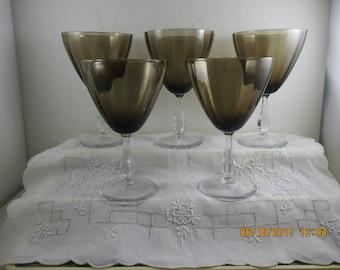 "Water Goblets 6 1/2""  Smoke Brown ~Bryce or Lenox c1967"
