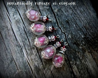 Beads, Charms, Roses, Craft Supplies, Victorian, Shabby Chic, Embellishments, Earrings