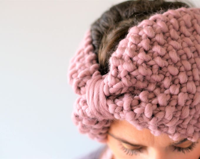 Mauve Bow Headband Turban | Soft Pink Adult Knit Headband | Mauve Bow Headband