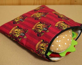 One Sandwich Bag, Reusable Lunch Bags, Waste-Free Lunch, Machine Washable, Harry Potter, Gryffindor, Sandwich Sacks, item #SS81