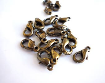 10 lobster clasps bronze 10mm