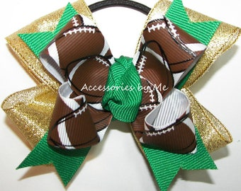 Football Pigtail Bow, Green Gold Football Hair Clip, Football Cheer Pigtails, Childs Kids School Spirit Cheerleader Team Custom Color Choice