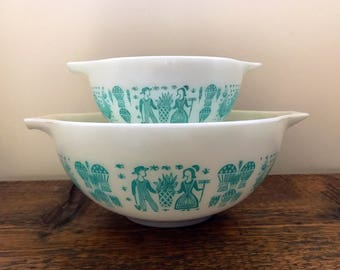 Vintage Pyrex Amish Butterprint 441 and 443 Mixing/Nesting/Cinderella Bowl in White and Turquoise Butterprint **Sold Separately**