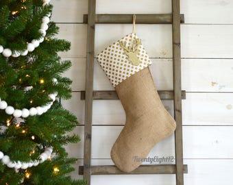 Personalized Christmas Stocking - Gold Metallic Polka Dot & Burlap Stocking -Stocking, Burlap Stocking,