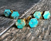 Turquoise Stud Earrings,Gold Turquoise Studs,Turquoise Earrings,Gifts for her,,Hexagon,Turquoise Jewelry,Gold Studs Earrings,Gold Turquoise