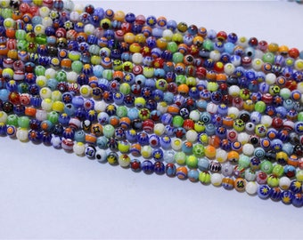 a yarn of 100 shape millefiori glass bead round 4mm