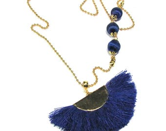 Golden Ball chain necklace with tassels range and Navy Blue beads