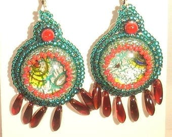 Embroidered on red and green dichroic cabochon Stud Earrings
