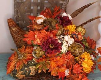 Cornucopia, Fall cornucopia, Fall floral arrangements, XL fall cornucopia, cornucopia arrangement, Thanksgiving cornucopia, Fall decor, Fall