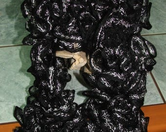 Scarf ruffle Wendy small nets, black and silver - handmade
