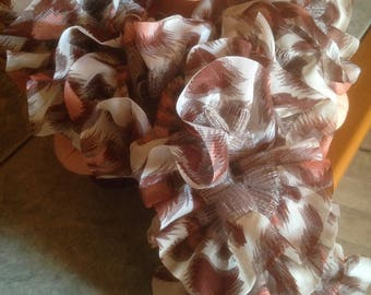 Ruffled fabric scarf veil 100% polyester - decorations orange and Brown on cream background - handmade