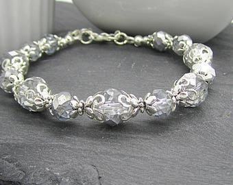 Grey Crystal Bracelet, Silver Bridesmaid Jewellery, Grey Silver Wedding, Bridal Party Gift, Bridesmaid Jewellery Sets,