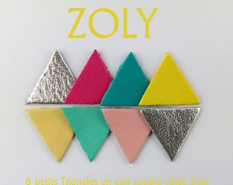 8 small Triangles of lamb leather 7 color sides 2cm