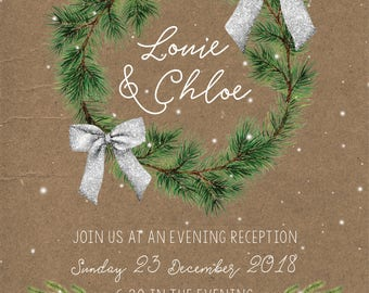 Tis the season to be Married Christmas wreath Wedding Invitations + Save the date Printable Wedding Suite Digital Silver glitter Snow Bow
