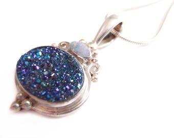 Metallic Druzy Opal Silver Pendant - Blue Violet Druzy - Opal Necklace - Sterling Italian Chain -Vintage Boho Jewelry - Indonesian Silver