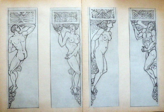 Antique Architectural Drawings Nude Male Female Cornices