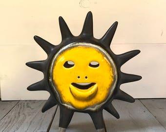 Vintage Pottery Raku Style Sun Sculpture