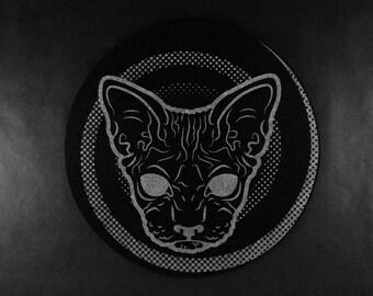 Creepy Black Hairless Cat Slipmat