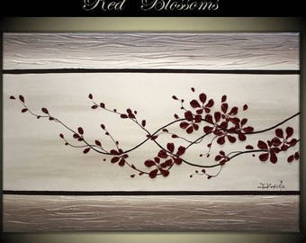 "4th of July sale Original Modern Art  Painting on Gallery wrapped Canvas 36"" x 24"", Home Decor, Wall Art -- Red Blossoms---"