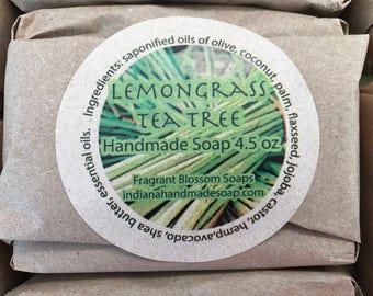 Lemongrass Tea Tree Handmade Soap 4.5 oz ~ naturally scented