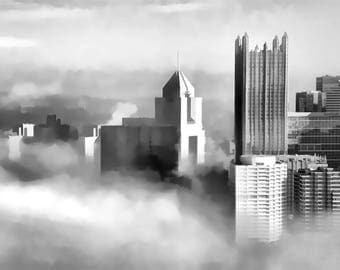 Downtown Pittsburgh Foggy Photo, black and white fine photography prints, The Edge of Clarity