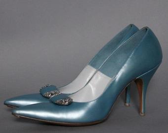 Vintage 1950s Heels// Stilettos// Blue// Rhinestones//1950s Spike Heels// Designer De Liso Debs//50s Blue Stilettos//