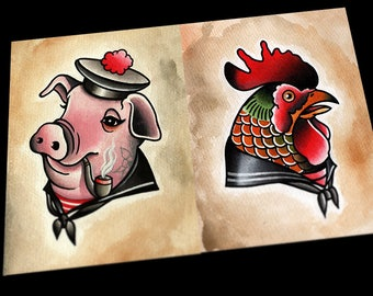 Chicken and Pig Nautical Tattoo Flash Prints