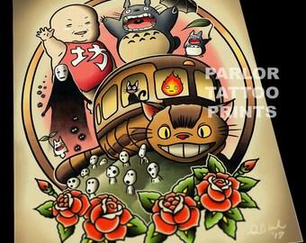 Ghibli Tattoo Flash Art Print