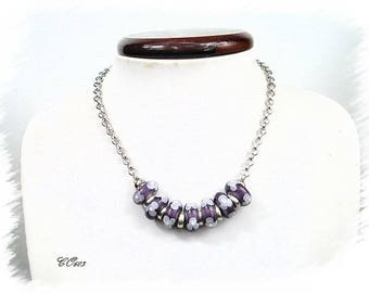 Purple CO603 Italian style glass beaded necklace