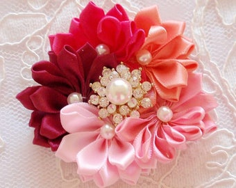 Handmade Ribbon Flowers  (3 inches) MY-676-01 Ready To ship