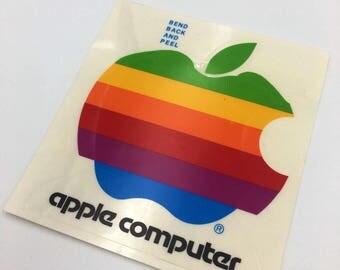 "Vintage Apple Computer Rainbow Logo Sticker 4x4"""