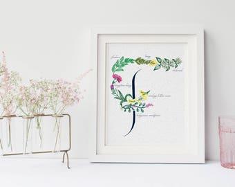 Letter Print Floral Monogram Botanical Alphabet Physical F Custom Hand Drawn