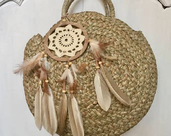 Dream  Cratcher Handmade Rattan|Ata Grass Round bag; Bali bags; Crossbody; Vintage look; Boho bag; Hippie Bags; Made from Bali, Indonesia