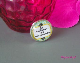 "Fancy brooch glass cabochon 25 mm image ""my teacher is a Princess"""