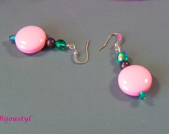 Fancy earrings with bright colors - green-fuchsia-pink-grey