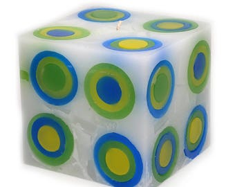 Cosmic Candles Yellow Green Blue Super Ball Square Pillar 4x4