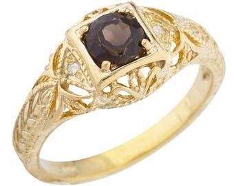 14Kt Yellow Gold Plated Genuine Smoky Quartz & Diamond Round Ring