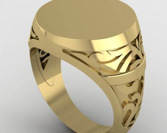 Gold Engraved ring, Personalized Ring, Signet Ring, men ring, Initial ring, Gift for women/men, letter Ring, costume made gold College Ring